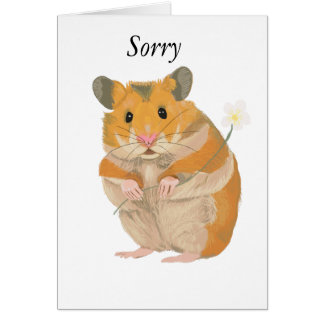 Cute little Hamster holding a flower Card