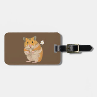 Cute little Hamster holding a flower Luggage Tag