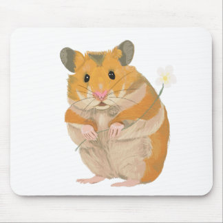 Cute little Hamster holding a flower Mouse Pad
