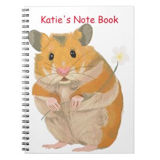 Cute little Hamster holding a flower Notebook