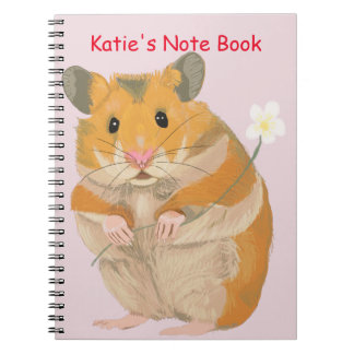 Cute little Hamster holding a flower Notebooks