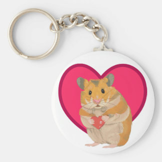 Cute little Hamster holding a red heart Key Ring