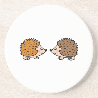 Cute little hand drawn hedgehogs in love coaster