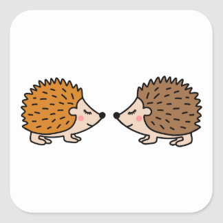 Cute little hand drawn hedgehogs in love square sticker
