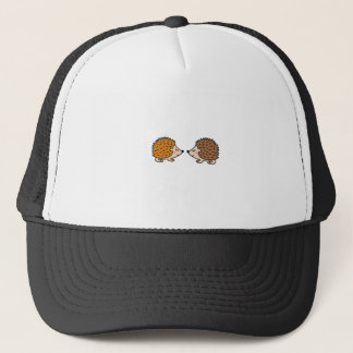 Cute little hand drawn hedgehogs in love trucker hat