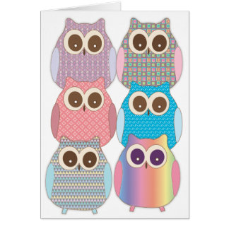 Cute Little Hoot Owls Assorted Colors Card