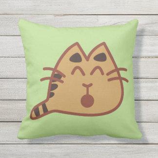 Cute Little Kawaii Meowing Cat Throw Pillow