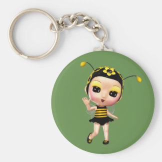 Cute Little Lady Bumblebee Basic Round Button Key Ring