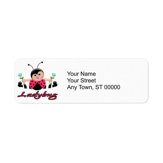 cute little lady ladybug with flowers return address label