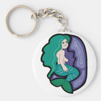 cute little mermaid basic round button key ring