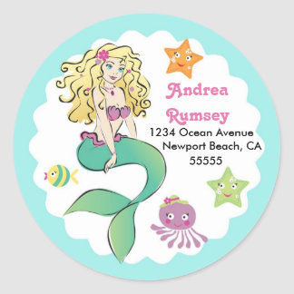 Cute Little Mermaid Classic Round Sticker