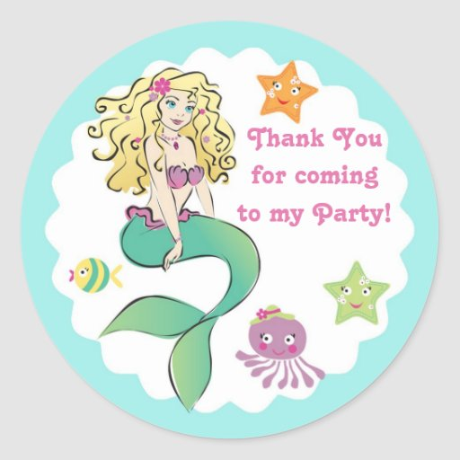 Cute Little Mermaid Gift Tag Round Stickers