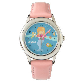 Cute Little Mermaid Girl Under the Sea Animals Watches