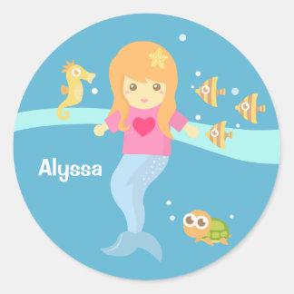 Cute Little Mermaid Girl Under the Sea Round Sticker