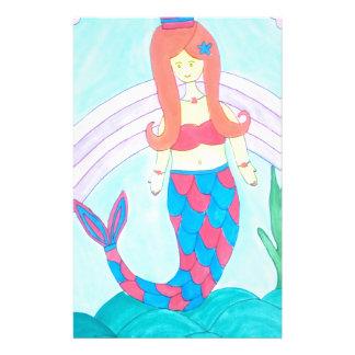 Cute little mermaid stationery