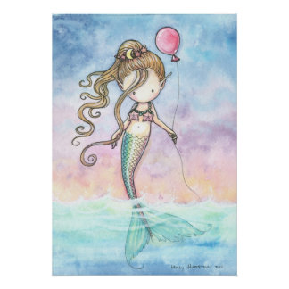 Cute Little Mermaid With Balloon Poster