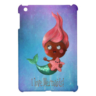 Cute Little Mermaid with Pink Hair Case For The iPad Mini
