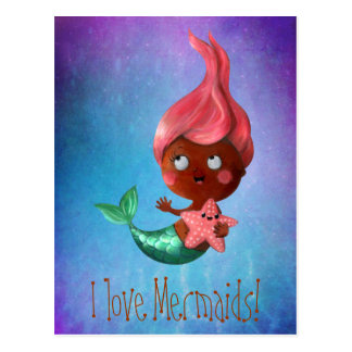 Cute Little Mermaid with Pink Hair Postcard