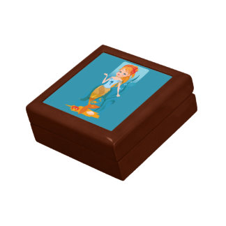Cute little mermaid with red hair and blue eyes gift box