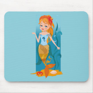 Cute little mermaid with red hair and blue eyes mouse pad