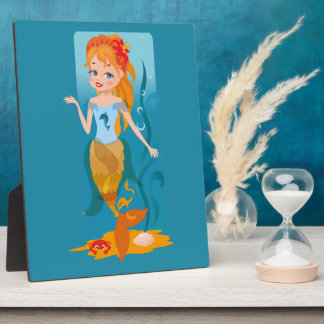 Cute little mermaid with red hair and blue eyes photo plaque