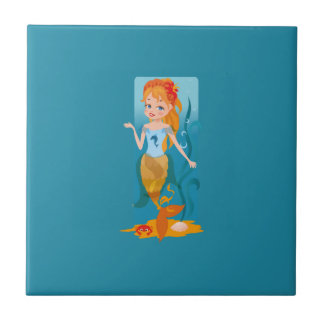 Cute little mermaid with red hair and blue eyes small square tile