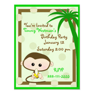 Cute Little Monkey Birthday Invitation