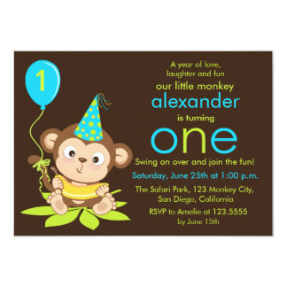 Cute Little Monkey First Birthday Invitation