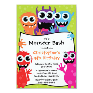 CUTE Little Monster Bash Birthday Party 13 Cm X 18 Cm Invitation Card