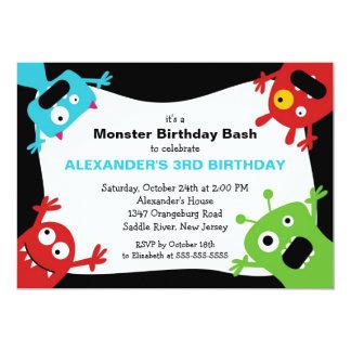 CUTE Little Monster Bash Birthday Party 13 Cm X 18 Cm Invitation Card