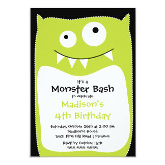 CUTE Little Monster Bash Birthday Party Lime 13 Cm X 18 Cm Invitation Card