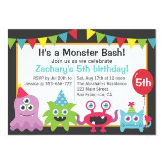 Cute Little Monster Birthday Party Bash for Kids 13 Cm X 18 Cm Invitation Card