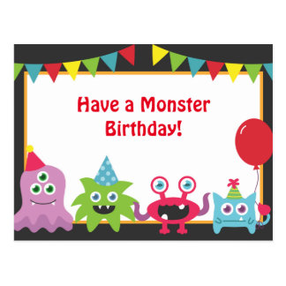 Cute Little Monster Happy Birthday Post Cards