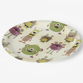 Cute little monsters design for kids party or baby paper plate