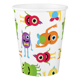 Cute Little Monsters Party Pattern Paper Cups