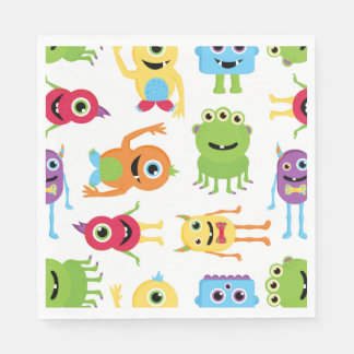 Cute Little Monsters Party Pattern Paper Napkin