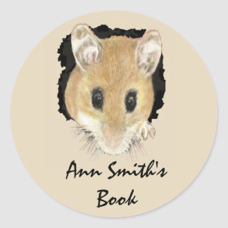 Cute Little Mouse Book Plate to Customize Classic Round Sticker