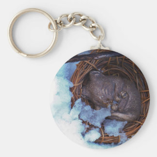 cute little mouse in the snow key ring