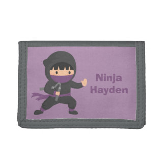 Cute Little Ninja with Nunchaku For Boys Tri-fold Wallets