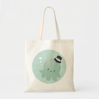 Cute Little Octopus wearing a black Top Hat Budget Tote Bag