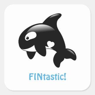 Cute Little Orca FINtastic (Fantastic) Square Sticker