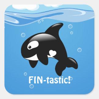 Cute Little Orca Whale FIN-tastic (Fantastic) Square Sticker