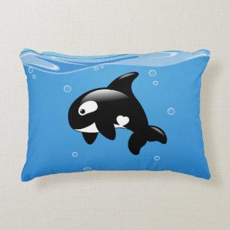 Cute Little Orca Whale in Ocean Decorative Cushion