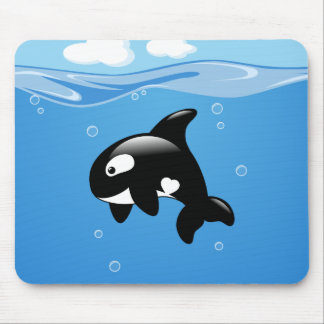 Cute Little Orca Whale in Ocean Mouse Pad