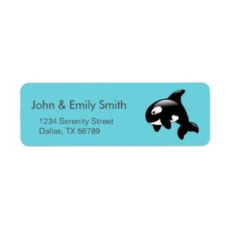 Cute Little Orca Whale on Aqua Return Address Label