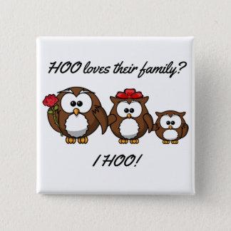 Cute Little Owl Family 15 Cm Square Badge