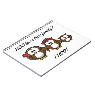 Cute Little Owl Family Spiral Notebook