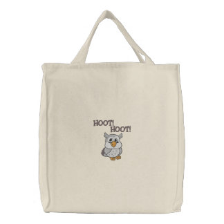 Cute Little Owl, HOOT!, HOOT! Embroidered Tote Bag