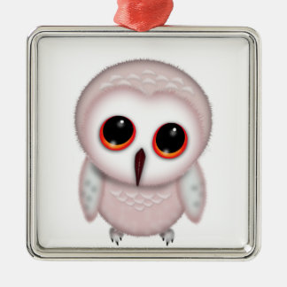Cute Little Owl Illustration Silver-Colored Square Decoration
