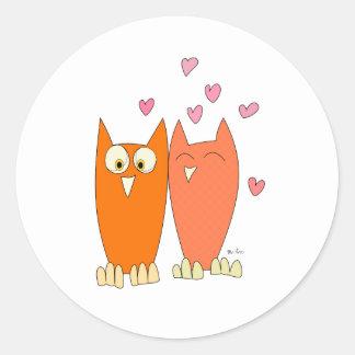 Cute little owls classic round sticker
